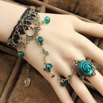 Retro Fashionable Flower Openwork Beads Bracelet With Ring For Women