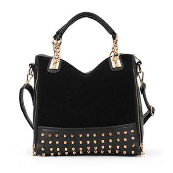 Trendy Rivets and Chains Design Tote Bag For Women - BLACK BLACK