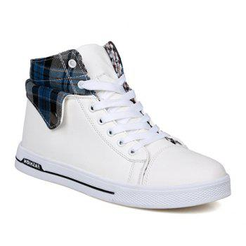 Fashion Checked and Fold Design Casual Shoes For Men - BLUE 42