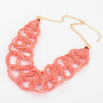 Retro Chic Colored Beaded Knitting Design Necklace For Women - COLOR ASSORTED COLOR ASSORTED
