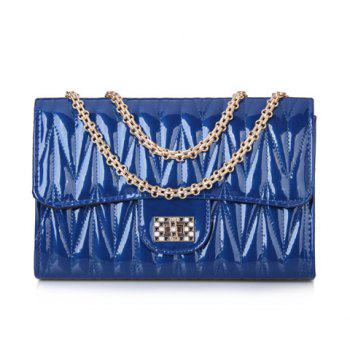 Elegant Chains and Solid Color Design Shoulder Bag For Women - BLUE BLUE