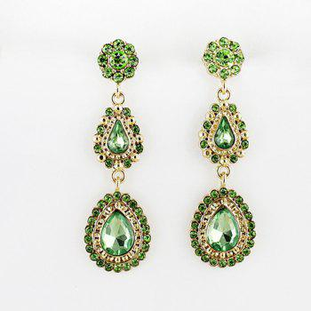 Pair of Long Faux Gem Teardrop Earrings
