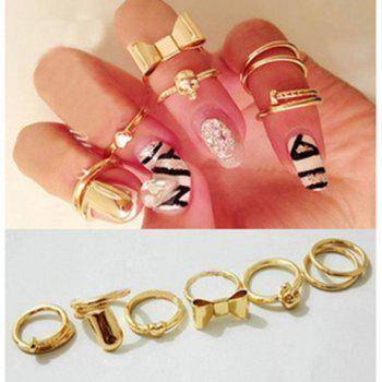 7PCS of Bowknot Skull Heart Round Nail Shape Knuckle Rings