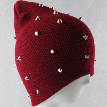 Fashion Rivet Embellished Colored Beanie For Men and Women - WINE RED WINE RED
