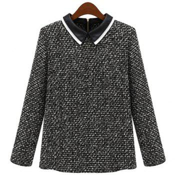 Fashionable Peter Pan Collar PU Leather Splicing Back Zipper Long Sleeves Slimming Women's Coat