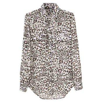 Turn-Down Collar Leopard Print Single-Breasted Long Sleeves Blended Women's Chiffon Blouse