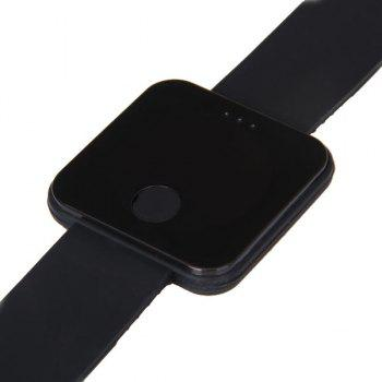 Waterproof Rubber Band Red LED Watch with Number Hour Marks Square Shaped - BLACK