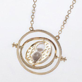 Hollowed Time Turner and Hourglass Pendant Necklace