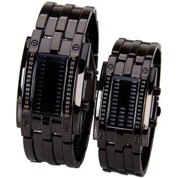 Valentine Waterproof Watch with Blue Light Time-Date Indicate Steel Watchband for Couple - BLACK BLACK