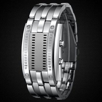 Valentine Waterproof Watch with Blue Light Time-Date Indicate Steel Watchband for Couple - SILVER