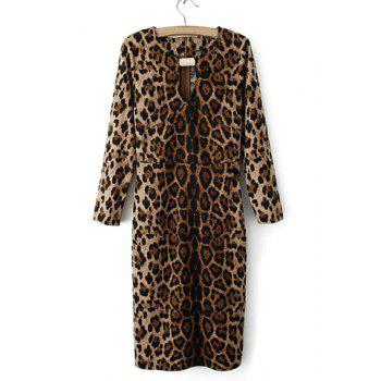 Sexy Style Leopard Print Breast Hollow Out Long Sleeves Women's Dress