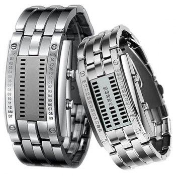 Valentine Waterproof Watch with Blue Light Time-Date Indicate Steel Watchband for Couple - SILVER SILVER
