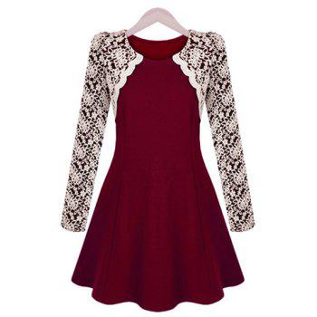 Sophisticated Round Collar Color Block Embroidery Lace Long Sleeves Pleated Women's Dress
