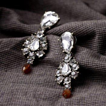Pair of Trendy Chic Faux Crystal Pendant Earrings For Women