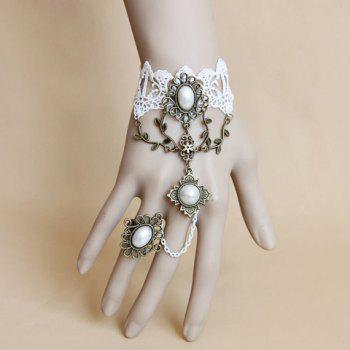Faux Pearl Lace Charm Bracelet With Ring