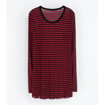 Casual Round Collar Striped Design Long Sleeves Women's T-shirt