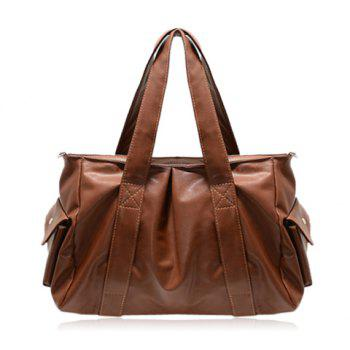 Casual Stitching and Solid Color Design Shoulder Bag For Women - BROWN BROWN