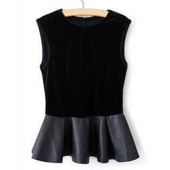 Trendy Round Collar Back Single-Breasted Leather Splicing Pelpum Top Sleeveless Women's Blouse