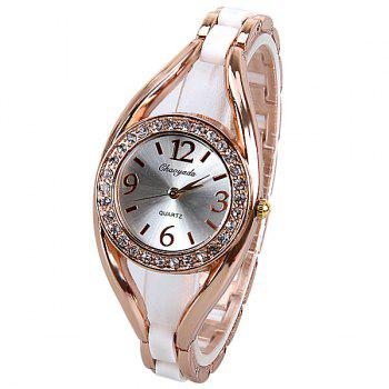 Quartz Watch Analog Indicate Diamonds Round Dial with Steel Watchband for Women - WHITE WHITE