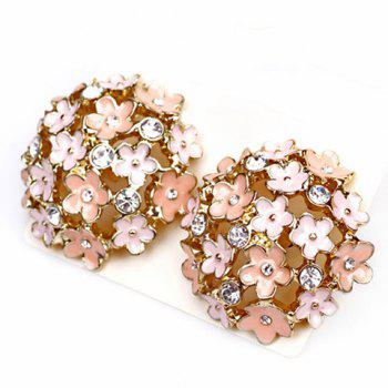 Pair of Sweet Cute Rhinestone Bloom Earrings For Women