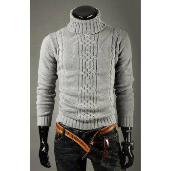 Buy Casual Style Turtleneck Solid Color Jacquard Design Long Sleeves Cotton Sweater Men LIGHT GRAY