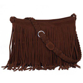 Fashion Fringe and Weaving Design Crossbody Bag For Women - CAMEL CAMEL