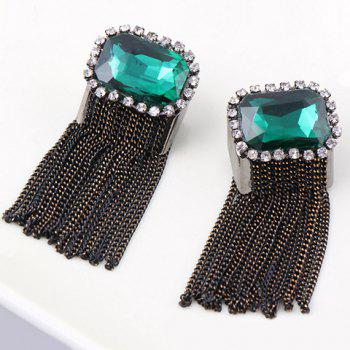 Pair of Vintage Long Tassels Colored Faux Gemstone Earrings For Women