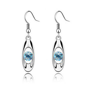Pair of Faux Crystal Openwork Ellipse Earrings