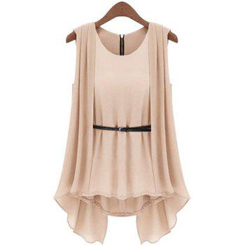 Scoop Collar Solid Color Belted Irregular Design Sleeveless Women's Chiffon Blouse