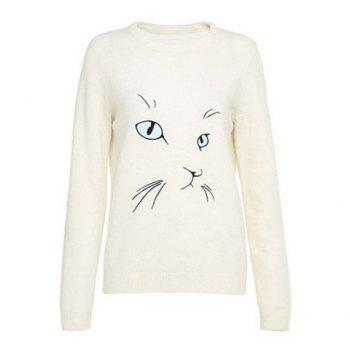 Trendy Round Collar Cat Eye Embroidery Long Sleeves Women's Sweater - BEIGE S