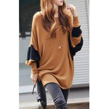Color Block Loose-Fitting Style Bat-Wing Sleeves Scoop Neck Women's T-shirt