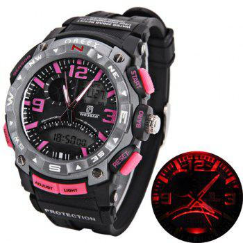 Waterproof Rubber Band Double Movt Watches with Red Light Numbers and Trapezoids Hour Marks Round Shaped