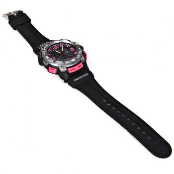 Waterproof Rubber Band Double Movt Watches with Red Light Numbers and Trapezoids Hour Marks Round Shaped -  PLUM