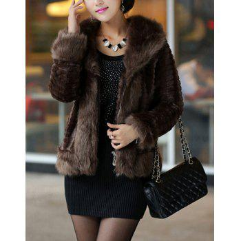 Modern Style Long Sleeves Fur Turn-Down Collar Solid Color Women's Coat