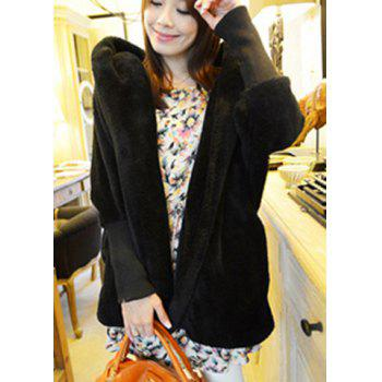 Casual Hooded Neck Solid Color Batwing Sleeves Loose-Fitting Cashmere Women's Coat