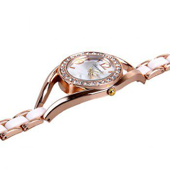 Quartz Watch Analog Indicate Diamonds Round Dial with Steel Watchband for Women - WHITE