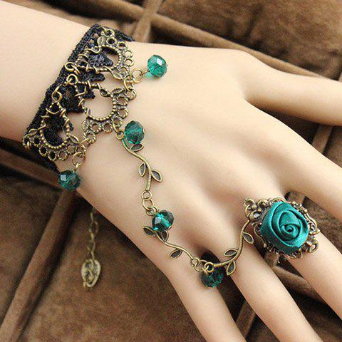 Retro Fashionable Flower Openwork Beads Bracelet With Ring For Women - AS THE PICTURE