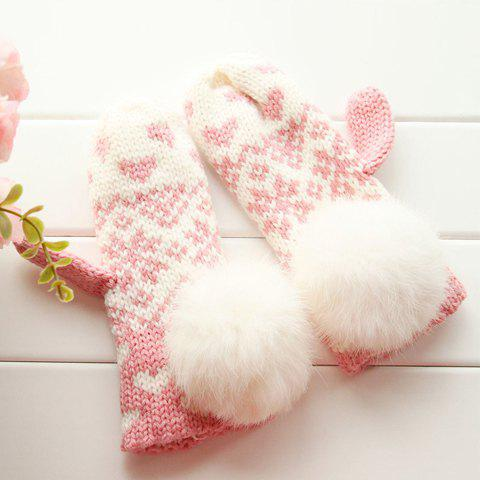 Pair of Cute Big Fuzzy Ball Embellished Knit Gloves For Women