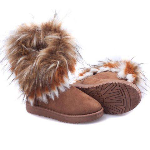 Trendy Faux Fur and Suede Design Snow Boots For Women - YELLOW 37
