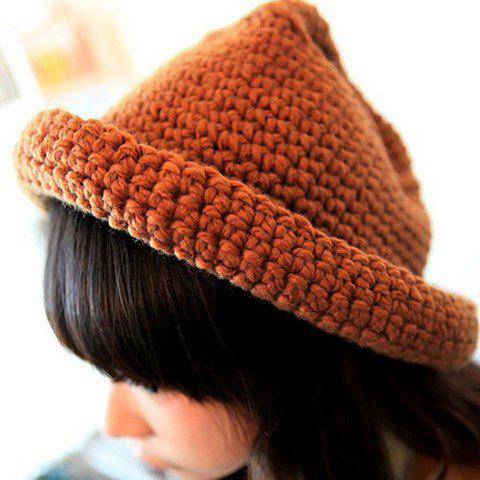 Fashion Solid Color Hemming Knit Hat For Women