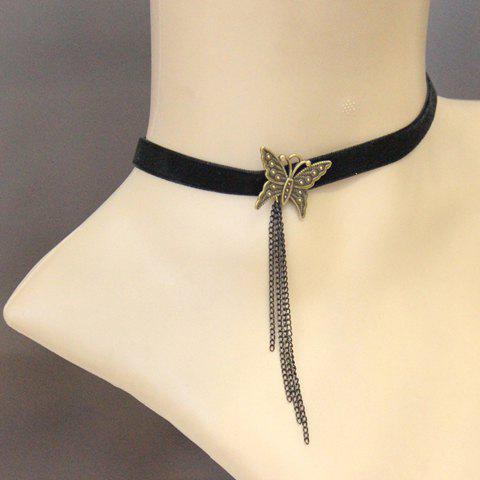 Retro Gothic Butterfly Link Tassel Necklace For Women - AS THE PICTURE