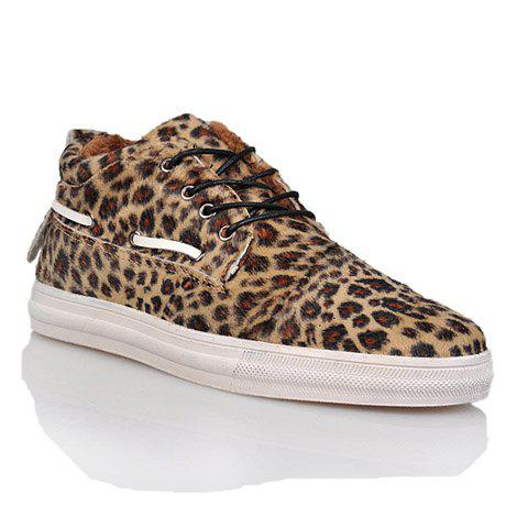 Fashion Leopard Print and Lace-Up Design Men's Casual Shoes