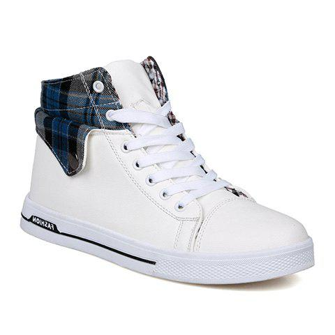 Preppy Checked and Fold Design Men's Casual Shoes - 43 BLUE