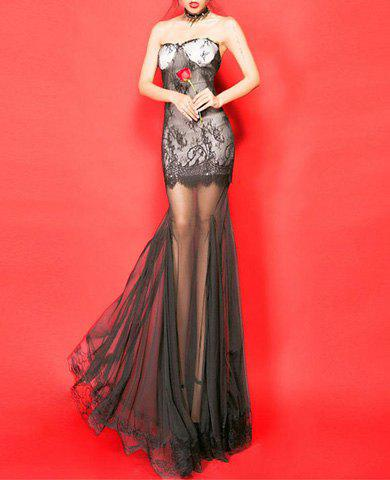 Low Cut See-Through Sexy Style Sleeveless Voile Splicing Women's Maxi Dress - BLACK ONE SIZE
