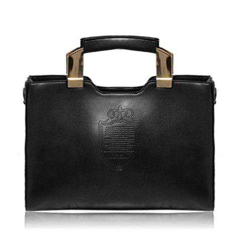 Career Solid Color and Crown Print Design Tote Bag For Women - BLACK