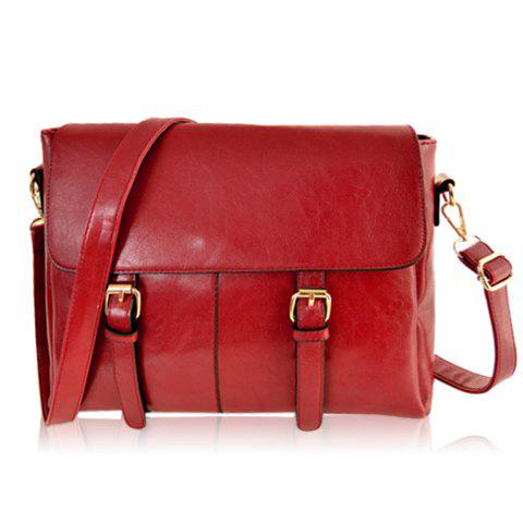 Preppy Style Buckle and Solid Color Design Women's Crossbody Bag - RED