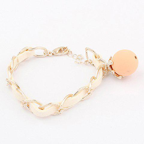 Ball Pendant Knitting Design Charm Bracelet -  PINK