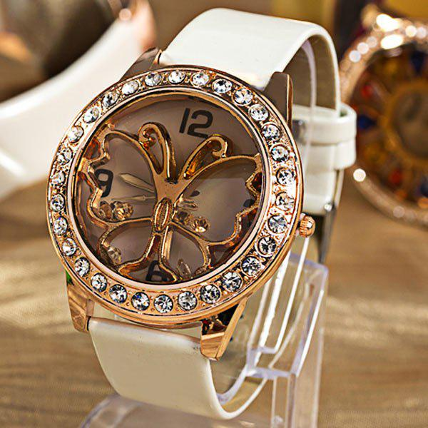 GENEVA Butterfly Patterned Watch with Diamonds Round Dial and PU Leather Watch Band for Women - WHITE