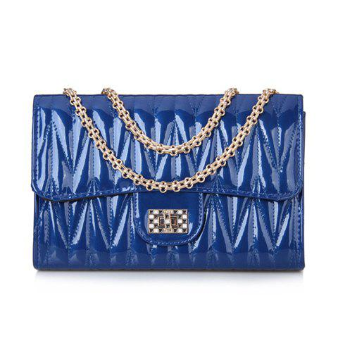 Elegant Chains and Solid Color Design Shoulder Bag For Women - BLUE