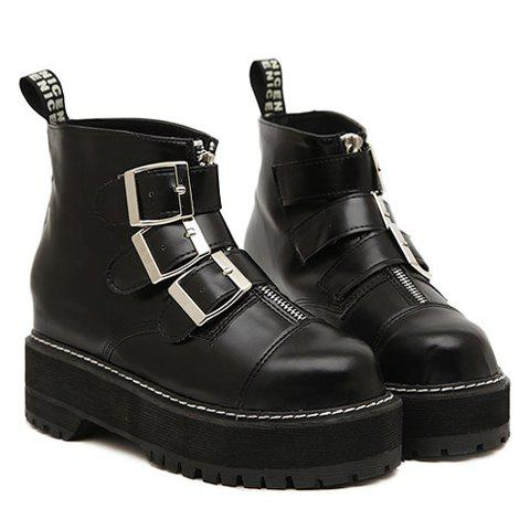 Fashion Buckle and Black Design Platform Boots For Women